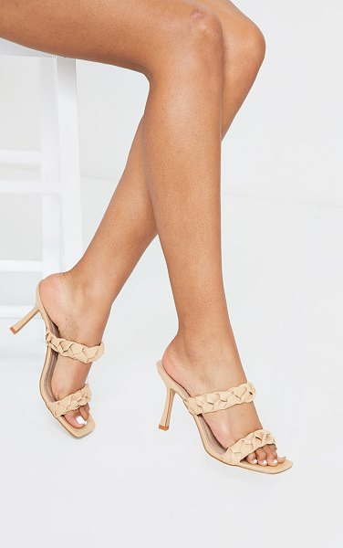 PrettyLittleThing square toe twin strap pu plaited mule heels in sand
