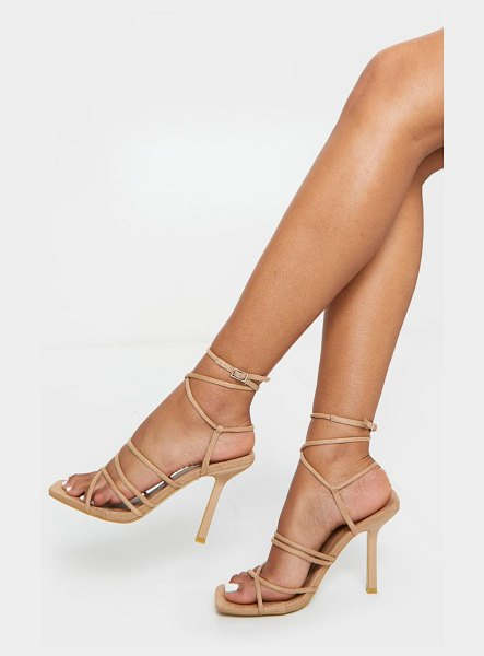 PrettyLittleThing squared strappy heels in sand