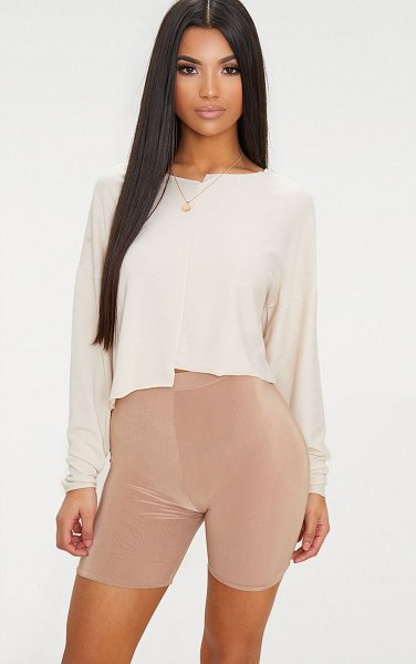 PrettyLittleThing step hem detail sweater in cream -  Featuring a cream marl sweat fabric and a step hem this...