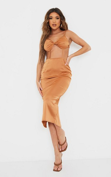 PrettyLittleThing strappy bralette detail cut out midi dress in chocolate