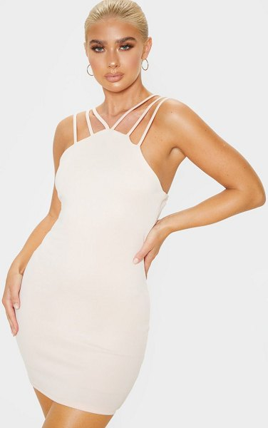 PrettyLittleThing strappy detail bodycon dress in nude