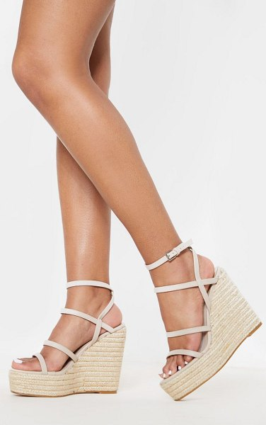 PrettyLittleThing strappy high wedge in nude
