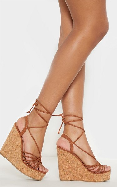 PrettyLittleThing strappy lace up cork wedge in tan