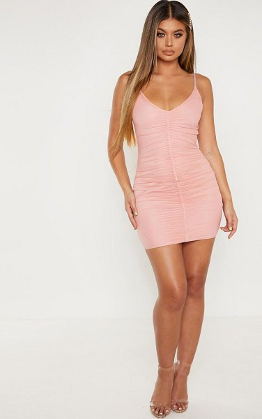 PrettyLittleThing strappy mesh ruched front bodycon dress in pink