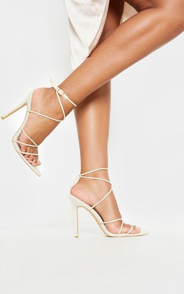PrettyLittleThing strappy point toe sandal in nude