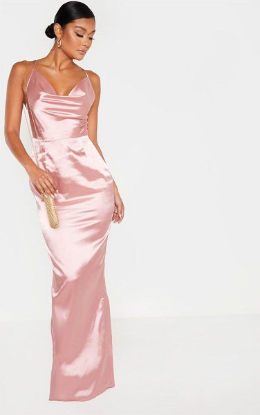 PrettyLittleThing strappy satin maxi dress in rose