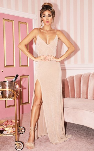 PrettyLittleThing strappy thigh split maxi dress in champagne