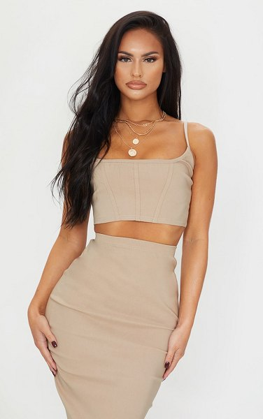 PrettyLittleThing stretch corset binding strappy crop top in stone