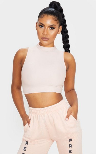 PrettyLittleThing stretch slinky high neck sleeveless crop top in nude