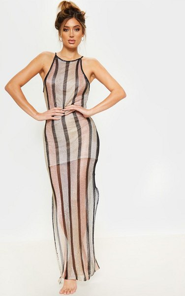 PrettyLittleThing stripe detail knitted maxi dress in gold