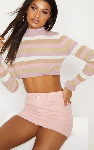 PrettyLittleThing stripe ribbed cropped sweater in nude - Nail the neutral trend this season with this cropped...