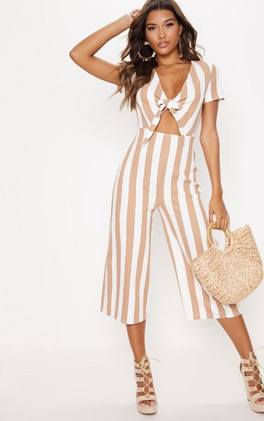 PrettyLittleThing stripe tie front culotte jumpsuit in stone