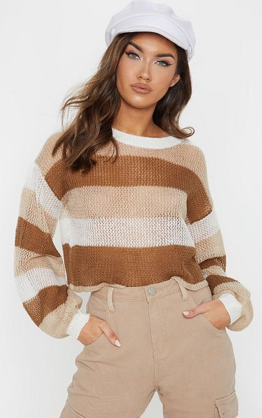 PrettyLittleThing striped cropped laguna sweater in cream - Stick to neutrals this season with this cropped sweater...