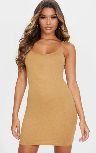 PrettyLittleThing structured rib strappy mini dress in camel