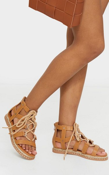 PrettyLittleThing stud detail lace up gladiator sandals in tan