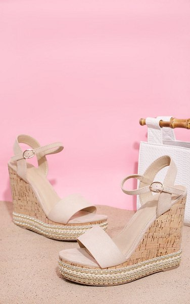 PrettyLittleThing studded cork wedge sandal in nude