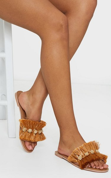 PrettyLittleThing tassel and pom pom mule sandals in gold