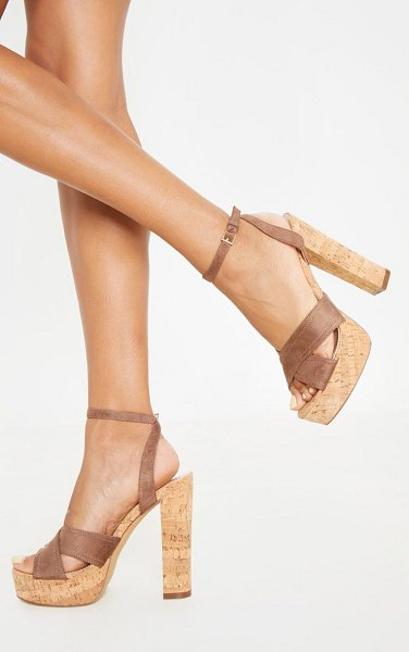 PrettyLittleThing taupe cork high platform sandal in taupe.