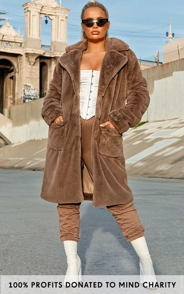 PrettyLittleThing taupe faux fur military coat in taupe.