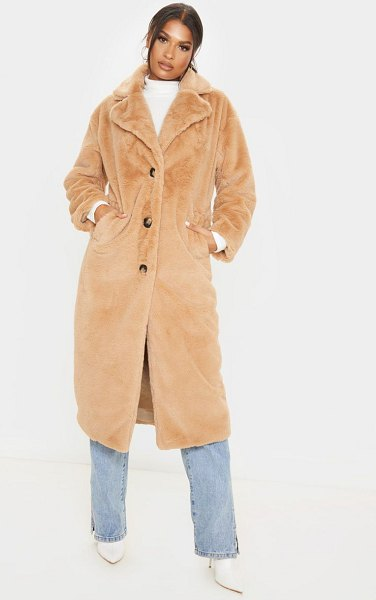 PrettyLittleThing maxi faux fur button front coat in taupe