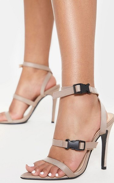 PrettyLittleThing taupe point toe buckle detail sandal in taupe.