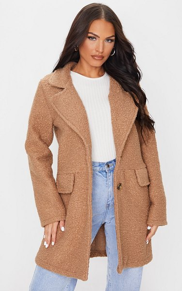 PrettyLittleThing teddy button down coat in camel