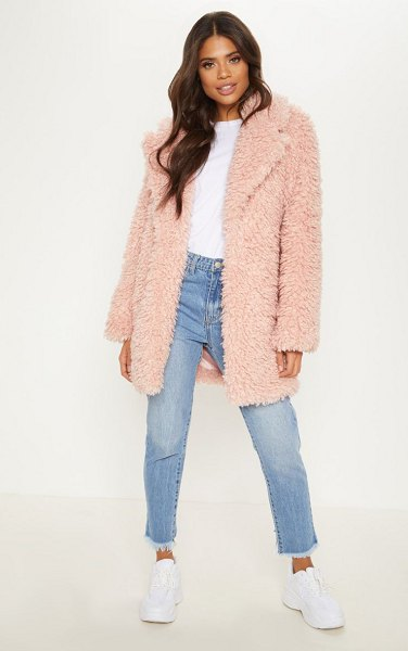 PrettyLittleThing teddy faux fur coat in pink - This coat is all kinds of perfect for the winter months...