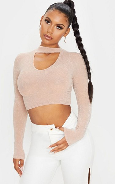 PrettyLittleThing textured glitter cut out detail crop top in nude