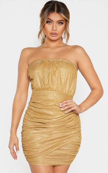 PrettyLittleThing textured metallic glitter ruched bandeau bodycon dress in gold