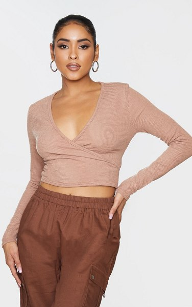 PrettyLittleThing textured rib cross over tie crop top in brown