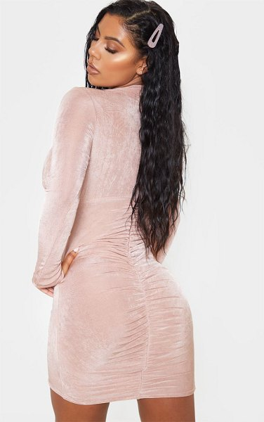 PrettyLittleThing textured slinky long sleeve high neck ruched back bodycon dress in rose