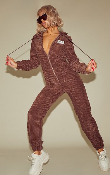 PrettyLittleThing thick cord hooded jumpsuit in chocolate
