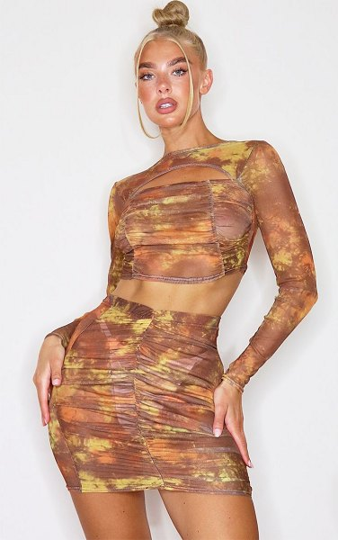 PrettyLittleThing tie dye print mesh ruched front mini skirt in brown