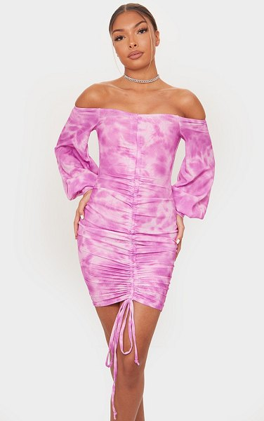 PrettyLittleThing tie dye ribbed bardot balloon sleeve ruched bodycon dress in pink