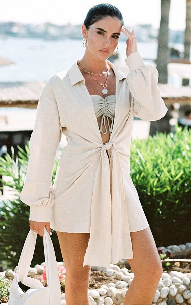 PrettyLittleThing tie front beach shirt in sand