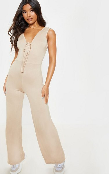 PrettyLittleThing tie front loose jumpsuit in stone