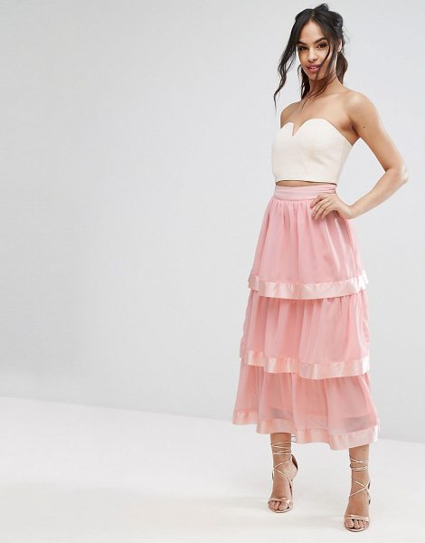 "PrettyLittleThing Tiered Maxi Skirt in pink - """"Maxi skirt by PrettyLittleThing, Lined chiffon, High..."
