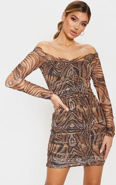 PrettyLittleThing tiger print mesh ruched frill bodycon dress in brown