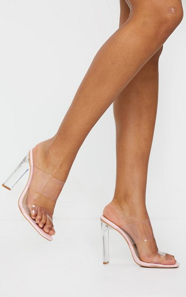 PrettyLittleThing tinted clear twin strap mule heels in pink