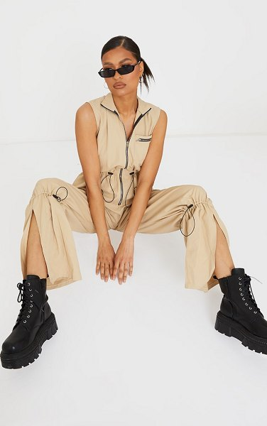 PrettyLittleThing toggle detail sleeveless cargo jumpsuit in stone