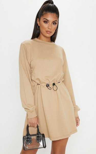 PrettyLittleThing toggle front sweat jumper dress in sand