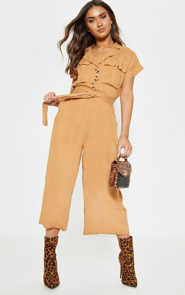 PrettyLittleThing tortoise shell button pocket detail culotte jumpsuit in camel