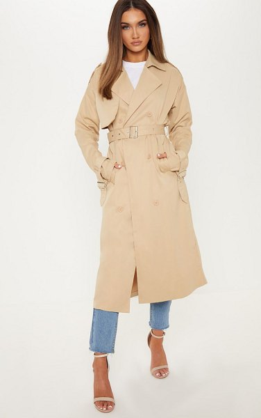 PrettyLittleThing trench coat in stone