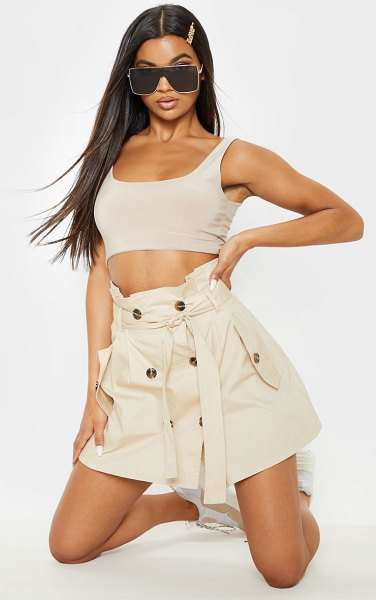 PrettyLittleThing trench tie waist a line mini skirt in stone