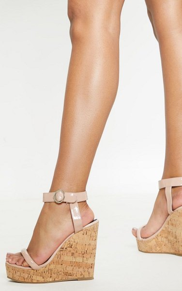 PrettyLittleThing tube strap wedge in nude