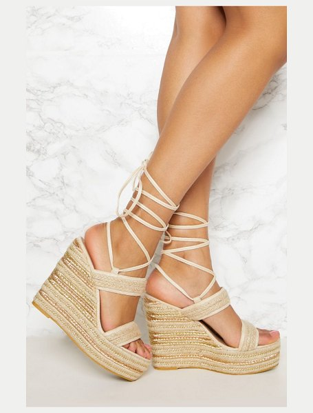 PrettyLittleThing twin strap espadrille wedge in natural