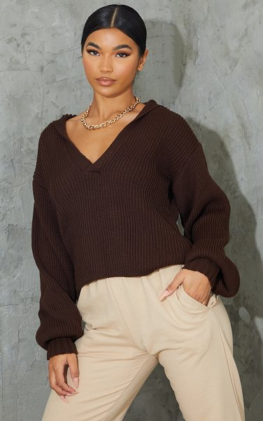 PrettyLittleThing chocolate v neck collar detail balloon sleeve sweater in chocolate brown