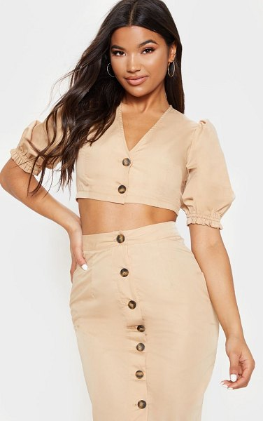 PrettyLittleThing v neck tortoise shell puff sleeve crop shirt in stone