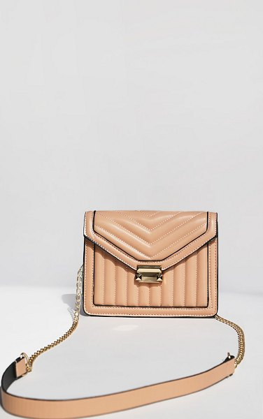 PrettyLittleThing vertical quilted cross body bag in beige
