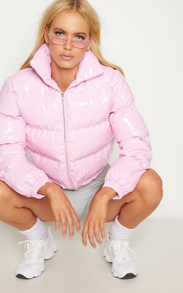PrettyLittleThing vinly puffer in pink